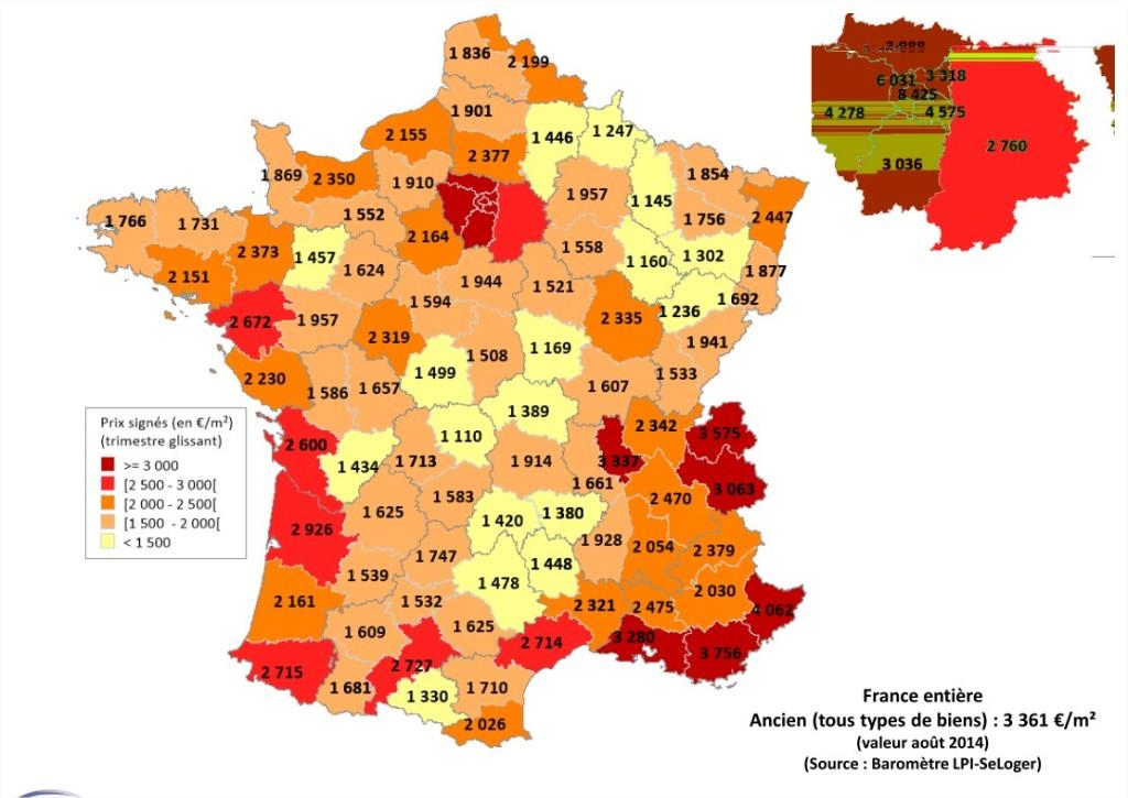 carte de france des prix immobiliers 2014