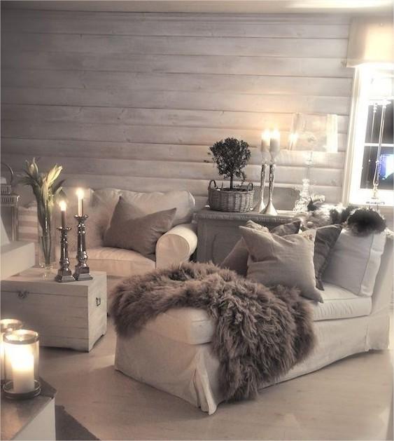 Id es d corations d 39 hiver dor argent blanc bougies for Decoration hiver