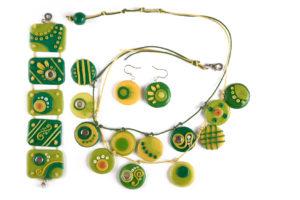 Sautoir collier et bracelet fimo