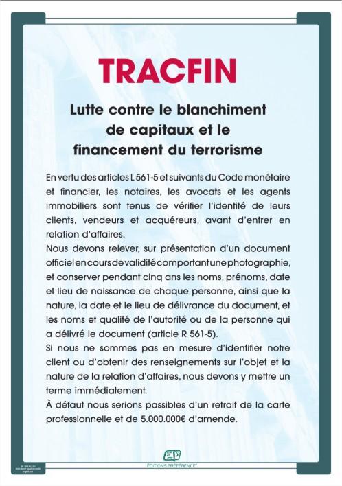 Affiche TRACFIN pour agence immobilière