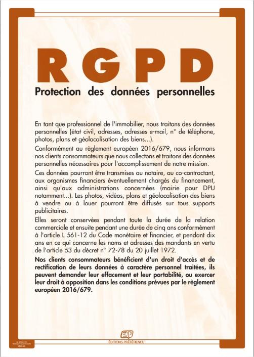 Affiche RGPD pour agence immobilière
